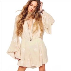 Free People Jasmine Floral Embroidered Bell Sleeve Surplice Front Mini Dress